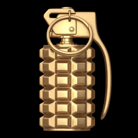 hand grenade: 3D collection of gold objects. Grenade  isolated on black background. High resolution  Stock Photo