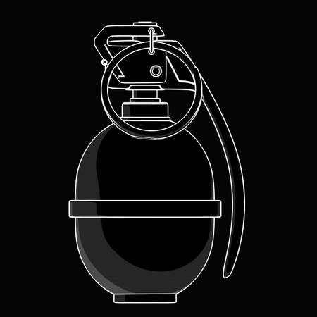 hand grenade: Grenade. black cartoon illustration outline. High resolution