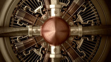Technology background. close-up Radial engine aircraft. High resolution 3d render