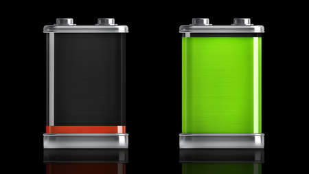 Battery icons with different charge levels isolated on black background High resolution 3d  photo