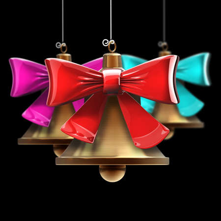 Christmas handbells isolated on black background High resolution 3d  photo