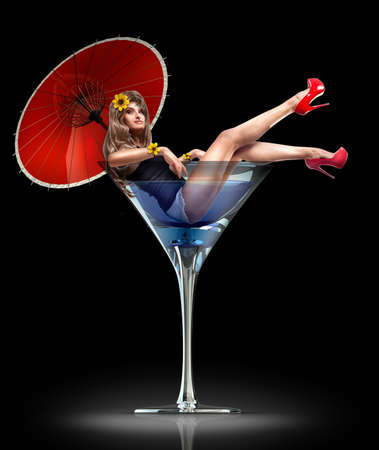 coctail: Concept. girl in martini glass with a red umbrella and yellow flowers. High resolution