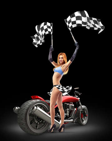 checker flag: Beautiful girl waving racing flags before custom red motorcycle  Stock Photo