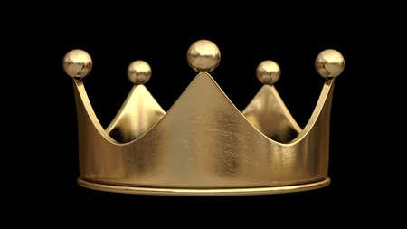 corona rey: Corona de oro aislado en el fondo negro de alta resolución en 3D Foto de archivo
