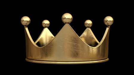 Gold crown isolated on black background High resolution  3d Stock Photo