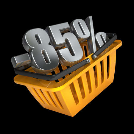 shopping carriage: orange plastic shopping basket full of discounts Isolated on black background High resolution 3d render