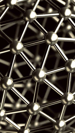 abstract background. 3D rendered silver glossy core molecules structure High resolution  photo