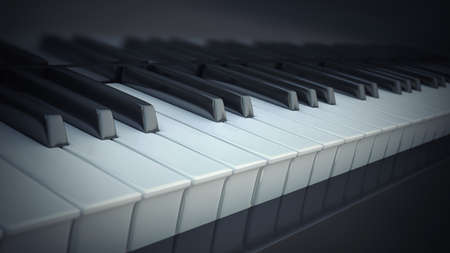 hymnal: close-up of piano keys. High resolution 3d render Stock Photo