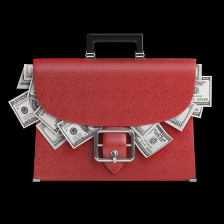 RED leather briefcase with dollars isolated on black background High resolution 3d  photo