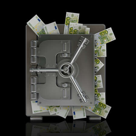 Bezpieczne pełne pięćdziesięciu banknotów euro samodzielnie na czarnym tle wysokiej rozdzielczości 3D Zdjęcie Seryjne