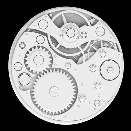3d  watch mechanism. Close up. technology abstract background. High resolution  photo