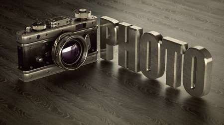 disposable: Vintage photo camera. High resolution 3d  Stock Photo