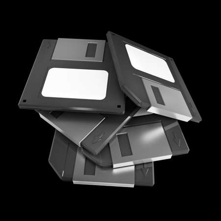 salvaging: Black Magnetic floppy disc icon for computer data storage. isolated on black background. High resolution 3d  Stock Photo