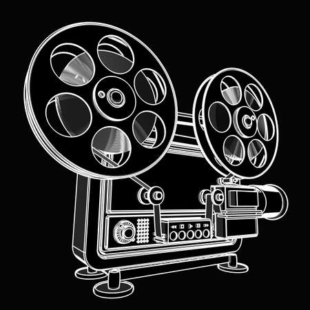 movie projector: old-fashioned cinema projector. black cartoon illustration outline. High resolution 3D
