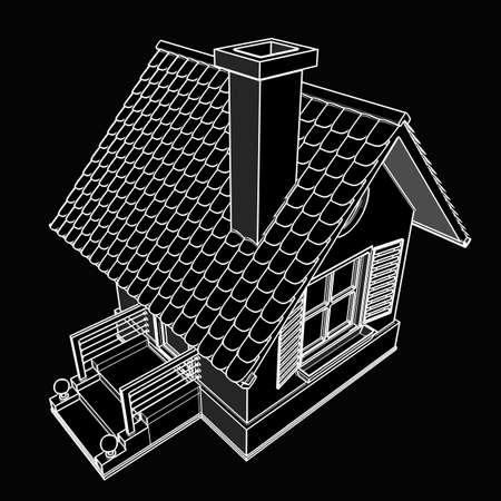 house. black cartoon illustration outline. High resolution 3D