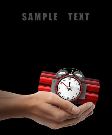 human time bomb: Bomb with clock timer. Man hand holding object isolated on black background. High resolution  Stock Photo