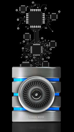 3d mode: Hard disk and database icon Jet engine (TURBO MODE) isolated on black background. High resolution 3d