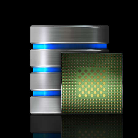 Hard disk and database icon with Processor unit CPU isolated on black background High resolution 3d  photo
