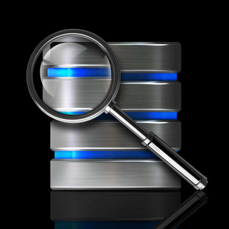 antivirus diagnostics. metal disk drive icon and magnifying glass isolated on black background High resolution 3d  photo