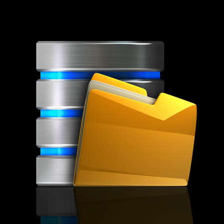 Computer Database with yellow Folder isolated on black background High resolution 3d  photo