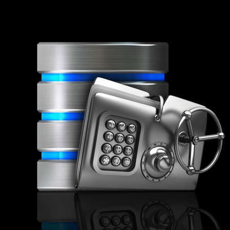 cylinder lock: Hard disk and database icon with metal folder security password isolated on black background High resolution 3d