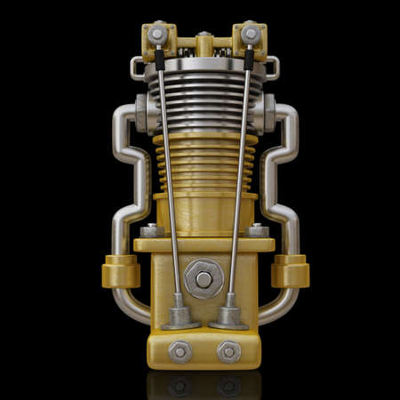detail the carburetor from Radial cylinder engine isolated on black background High resolution 3d render Stock Photo