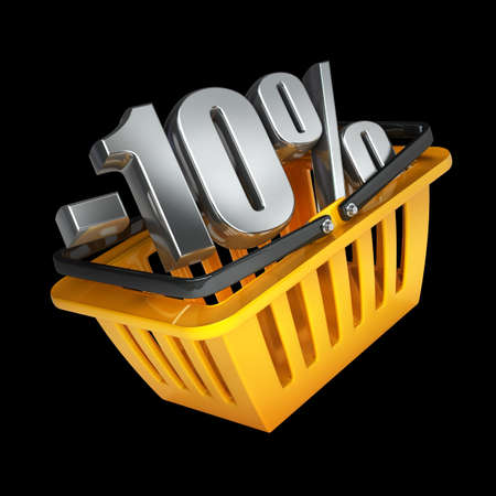 orange plastic shopping basket full of discounts Isolated on black background High resolution 3d render