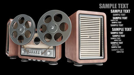 Analog recorder reel to reel. vintage wooden case. isolated on black background High resolution 3d