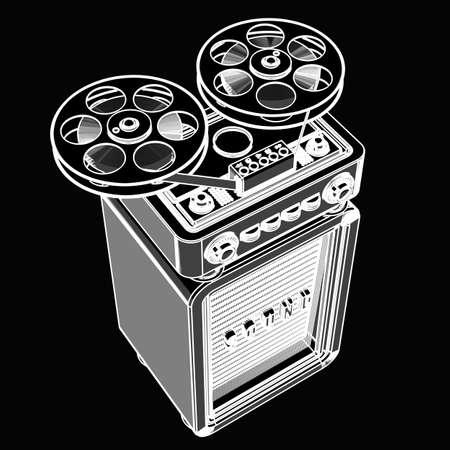 Analog recorder reel to reel. black cartoon illustration outline. High resolution