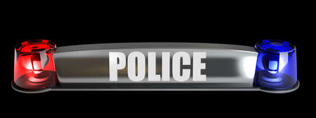 3d police flasher isolated on blakc background. High resolution