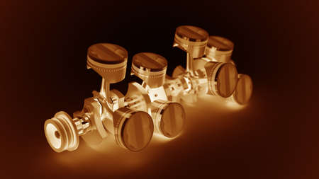 3d Engine pistons and cog isolated on black background High resolution  Stock Photo