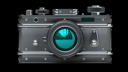 Vintage photo camera isolated on black background High resolution 3d  Stock Photo