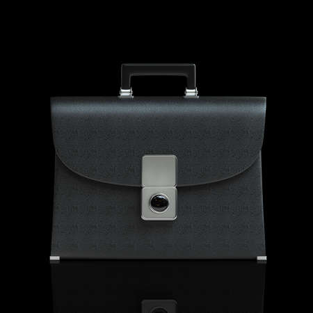 brief case: Black leather briefcase isolated on black background High resolution 3d