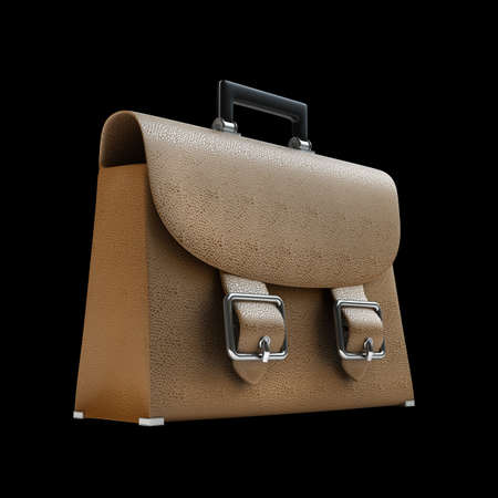 packing suitcase: Brown leather briefcase isolated on black background High resolution 3d