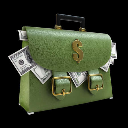 Green leather briefcase with dollars isolated on black background High resolution 3d  photo