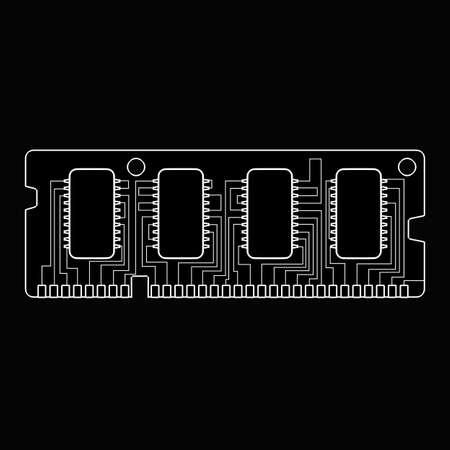 Computer RAM Memory Card 64gb. cartoon illustration outline. High resolution 3D  illustration