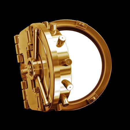 bank vault: 3D collection of gold objects. bank vault door   isolated on black background. High resolution  Stock Photo