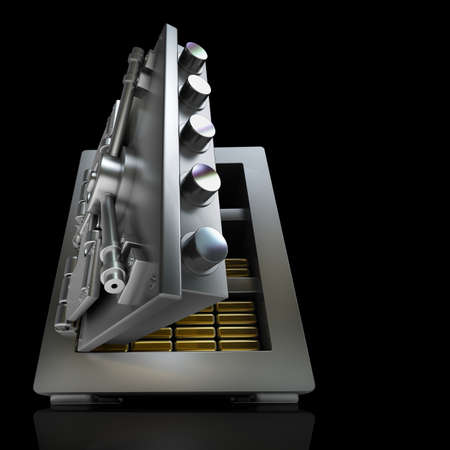 3d steel safe isolated on black background High resolution  photo