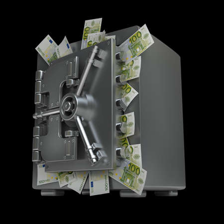Safe full of fifty euro notes isolated on black background High resolution 3d  photo