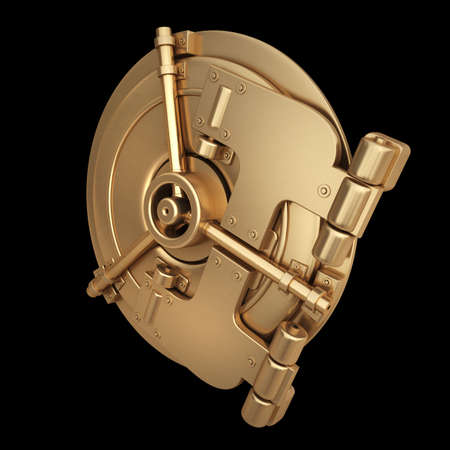3D collection of gold objects. bank vault door   isolated on black background. High resolution  photo