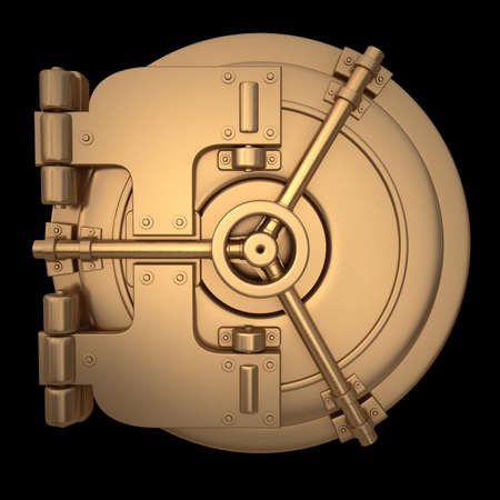 vault: 3D collection of gold objects. bank vault door   isolated on black background. High resolution  Stock Photo