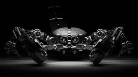 3d robot Scorpion isolated on black background High resolution  photo