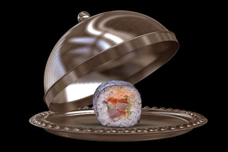 restaurant cloche with sushi isolated on black background