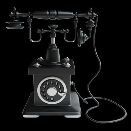 Vintage black Telephone isolated on black background High resolution 3d