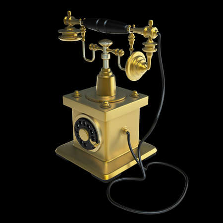Vintage golden Telephone isolated on black background High resolution 3d