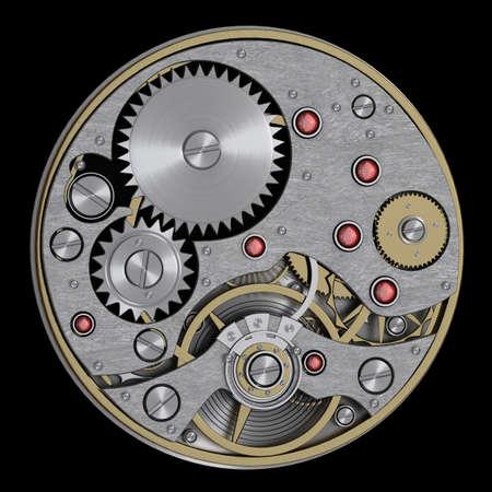 3d  watch mechanism. Close up. technology abstract background. High resolution