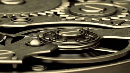 Close up watch mechanism. technology abstract background. High resolution 3d