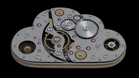 Close up cloud with gears isolated on black background High resolution 3d  Stock Photo