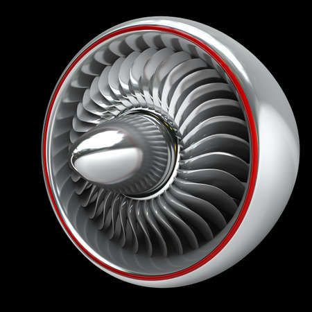 3d Jet engine isolated on black background High resolution  Stock Photo