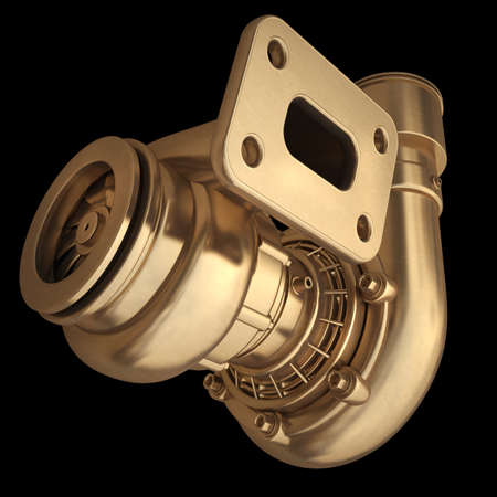 turbocharger: 3D collection of gold objects. Steel turbocharger  isolated on black background. High resolution